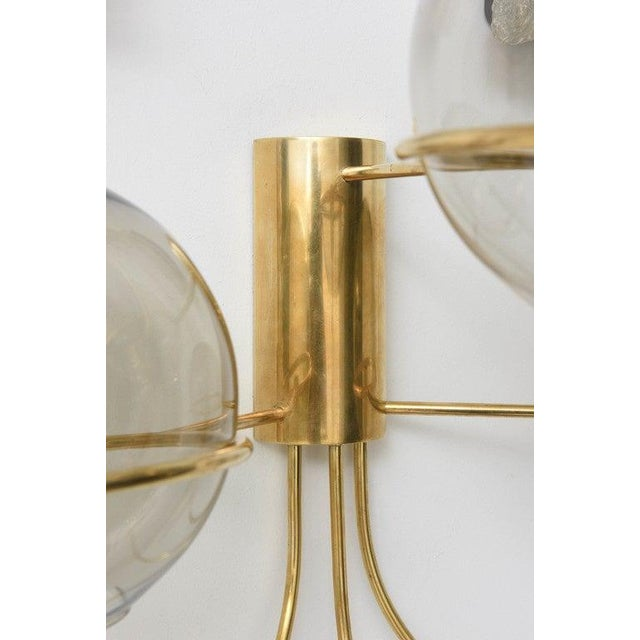 1960s Mid-Century Modern Vico Magistretti Style Brass and Smoke Glass Sconces - a Pair For Sale - Image 5 of 12