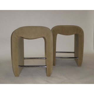 1970s Mid-Century Modern Faux Ostrich Upholstered Stools - a Pair Preview