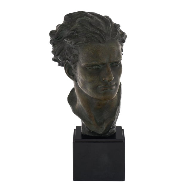 Art Deco Spelter Bust of Jean-Mermoz Sculpture For Sale - Image 9 of 10