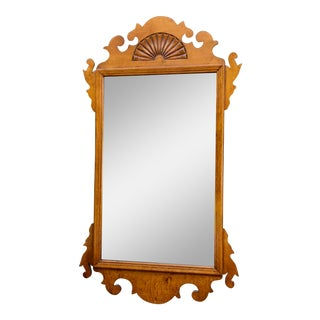 Tiger Maple Chippendale Wall Mirror For Sale