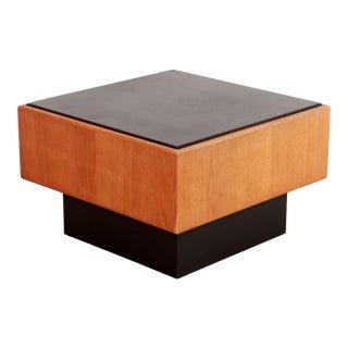 Mid Century Modern Milo Baughman Oak & Slate Coffee Table For Sale