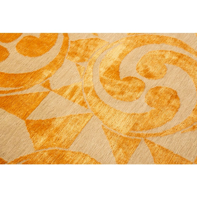 "Silk Contemporary Hand Knotted Golden ""Kaleidoscope"" Rug For Sale - Image 7 of 11"