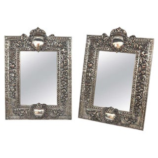 Pair of 19th C. English Silver on Copper Mirrors For Sale