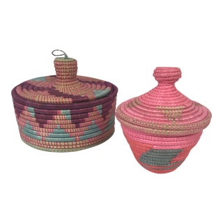 African Artisan Lidded Baskets - A Pair For Sale