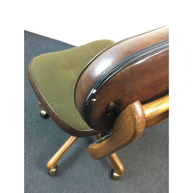 1960's Vintage Mid-Century Leather Office Chair For Sale - Image 4 of 4