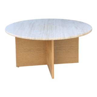 Contemporary Coffee Table W Travertine Top For Sale