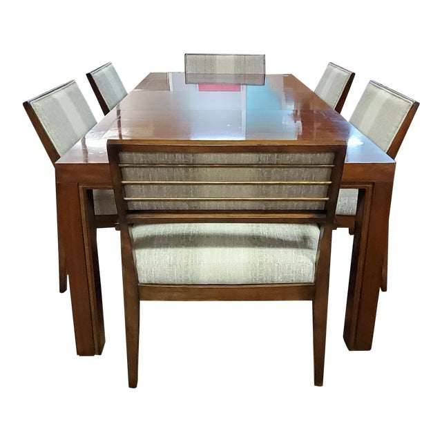 Henredon Furniture Venue Walnut Mid-Century Modern Dining Table & Chair Set For Sale