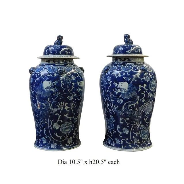 Chinese Blue & White Dragon Porcelain Jars - Pair - Image 6 of 6