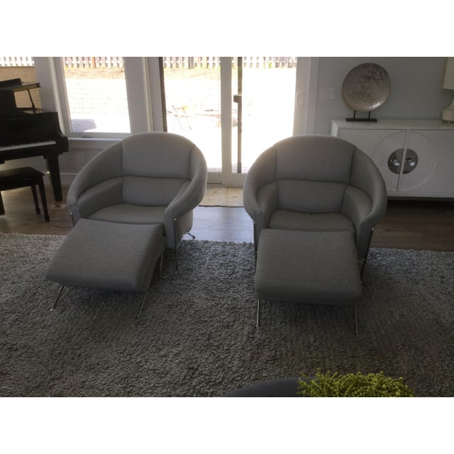 Gray Modern Milo Baughman for Thayer Coggin Boldido Chairs and Ottomans- a Pair For Sale - Image 8 of 11