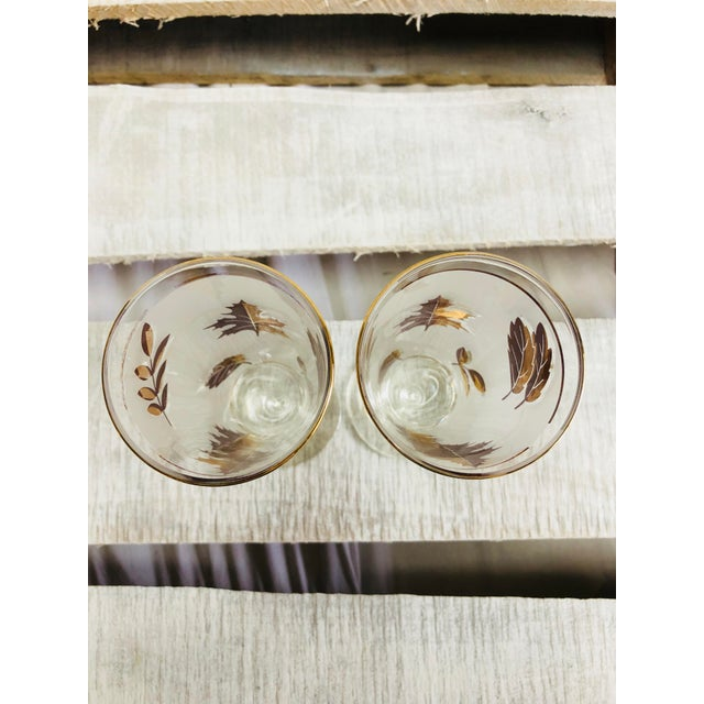 Vintage Frosted Gold Leaf Pilsner Glasses - A Pair For Sale In Houston - Image 6 of 7