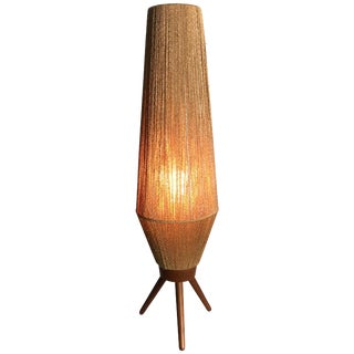 Mid-Century Modern Rope and Teak Table Lamp by Fog & Mørup For Sale