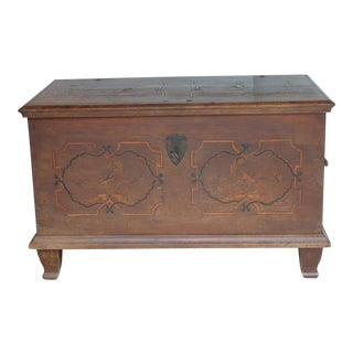 18th Century Inlay Fruitwood Trunk For Sale