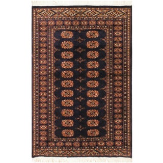 Geometric Bokhara Jeneva Blue/Blue Wool Rug - 4'3 X 5'3 For Sale