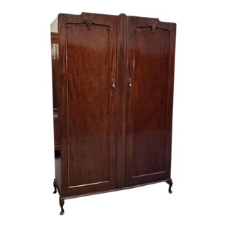 Deco Mahogany Double Door Armoire C.1920s For Sale