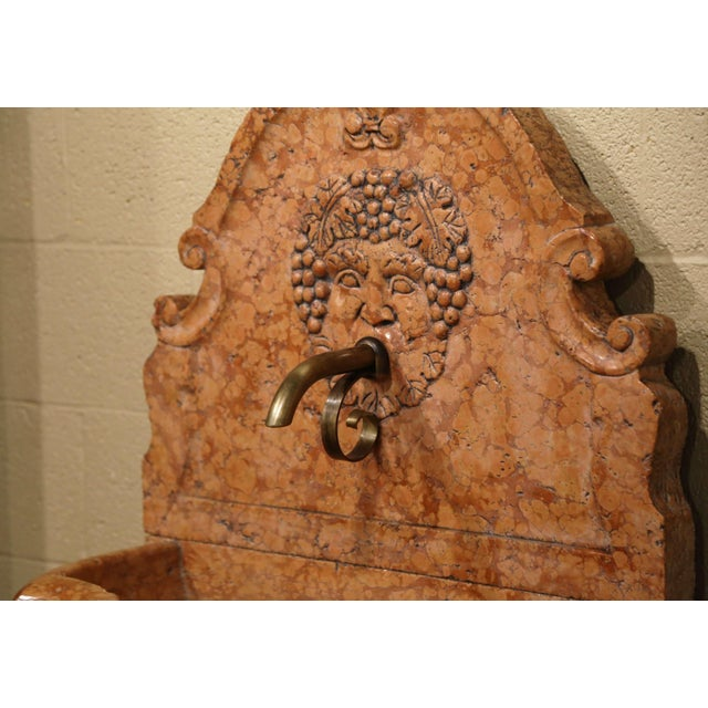 Italian Carved Marble Three-Piece Wall Fountain With Bacchus and Vine Decor For Sale In Dallas - Image 6 of 8