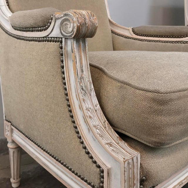 Gray Pair 19th Century French Louis XVI Bergeres ~ Armchairs For Sale - Image 8 of 13