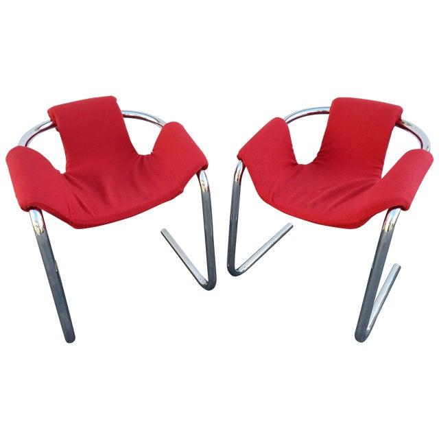 Vecta Vintage Zermatt Chrome Sling Chairs - A Pair For Sale