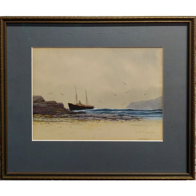 Ethel Turner -Ship near the English coast -Watercolor Painting-c1920s watercolor on paper -Signed circa 1920s frame size...