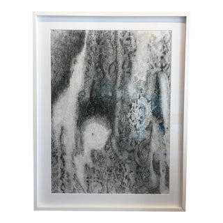 Contemporary Black and White Abstract Drawing 2, Framed For Sale