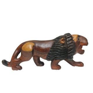 1970s Vintage Hand Carved Wood Lion Statue Wild Cat Animal Wood Sculpture For Sale