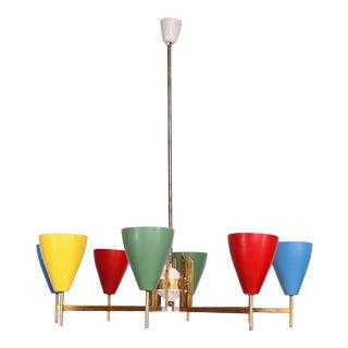 Festive Italian Multi Colored Modernist Chandelier Lamp Arredoluce 1950s For Sale