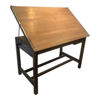 Vintage Industrial Tilting Wood Drafting Table by Hamilton