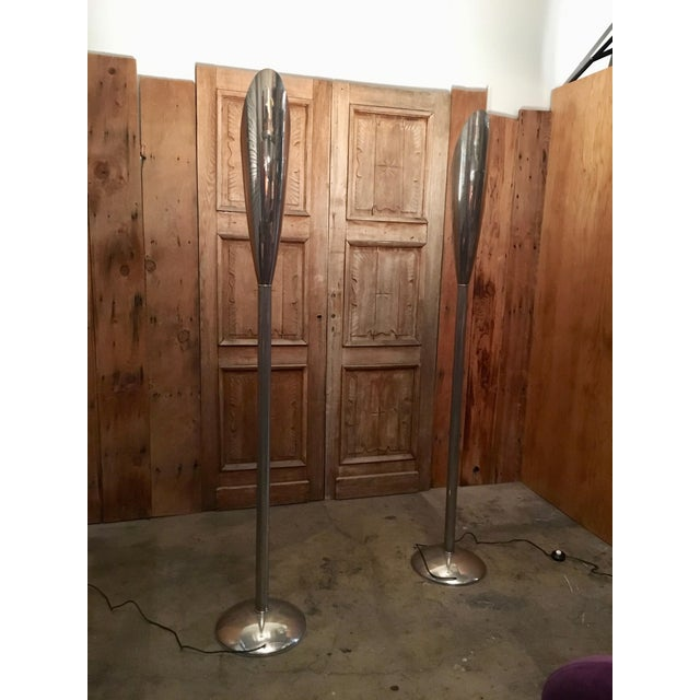 Mid 20th Century Modernist Aluminum Torchère Floor Lamps - a Pair For Sale - Image 4 of 13