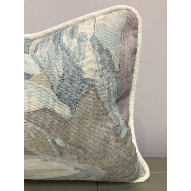 Watercolor Beacon Hill Decorative Pillows Soo Locks Frost Pattern on Linen Lumbar Pillows - a Pair For Sale - Image 7 of 9