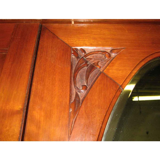 Early American Carved Cherry Armoire With Beveled Mirror For Sale - Image 9 of 10