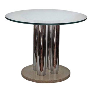 Vintage Travertine and Chrome Table For Sale