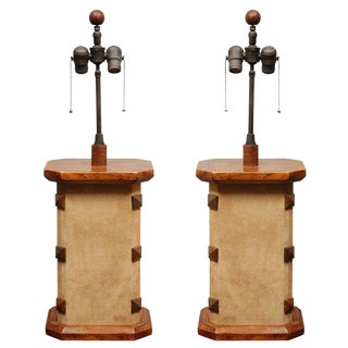 1970s Mission Style Leather and Wood Table Lamps - a Pair For Sale