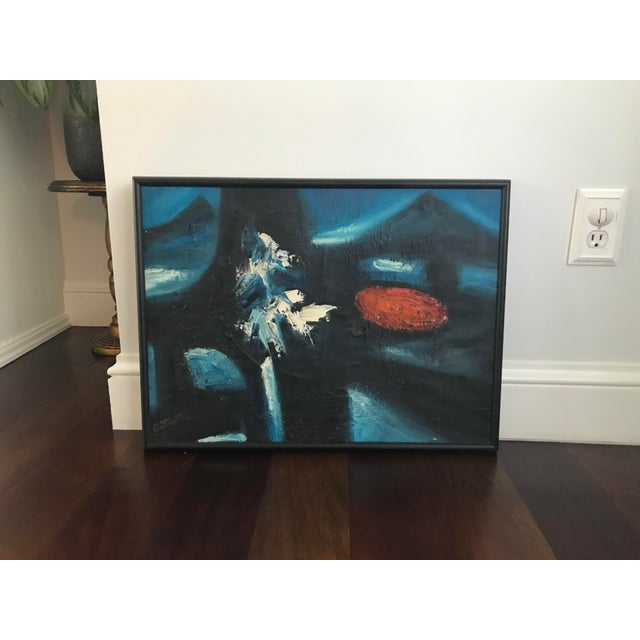 Vintage Mid-Century Modern Abstract Oil Painting Signed For Sale - Image 10 of 11