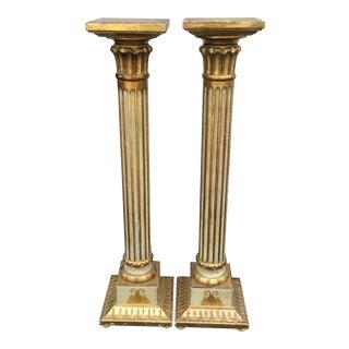 Italian Florentine Gold Wood Pedestal Tables - a Pair