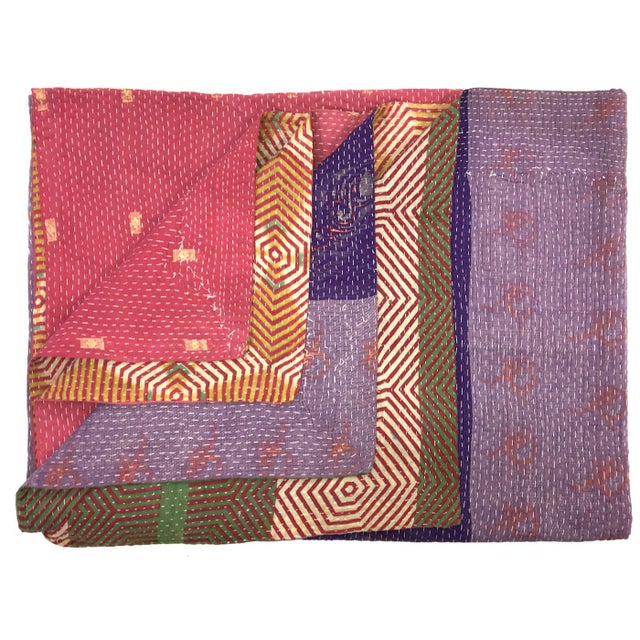 Pinks and Purples Vintage Kantha Quilt For Sale - Image 4 of 4