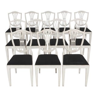 12 Gustavian Dining Chairs For Sale