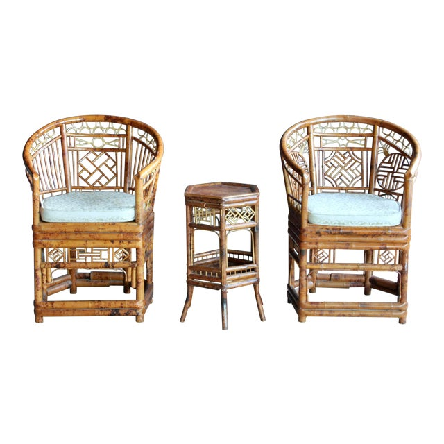 Pair of Brighton Pavillion Bamboo Chairs With Table, Set of 3 For Sale