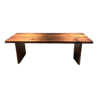 Custom Made Restoration Style Solid Walnut Dining Room Table For Sale