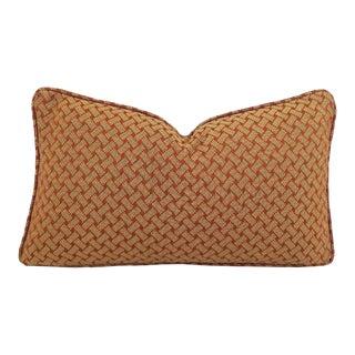 F. Schumacher Bristol Weave Self-Welt Lumbar Pillow Cover For Sale