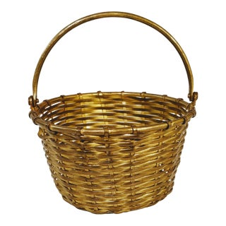 Vintage Brass Basket Bucket With Handle For Sale
