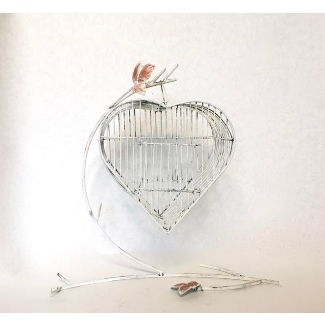 Vintage Heart Shaped Bird Cage on a Stand - Image 2 of 4