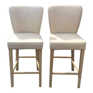 Cream Linen Bar Stools - a Pair For Sale
