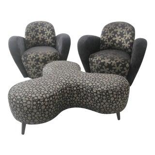 Kagan Swivel Chairs & Ottoman - Set of 3