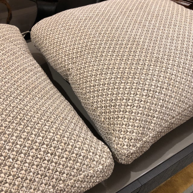 Design Plus Gallery presents a custom pair of toss pillows. The pillows are covered in a Gray and Cream waffle fabric. The...