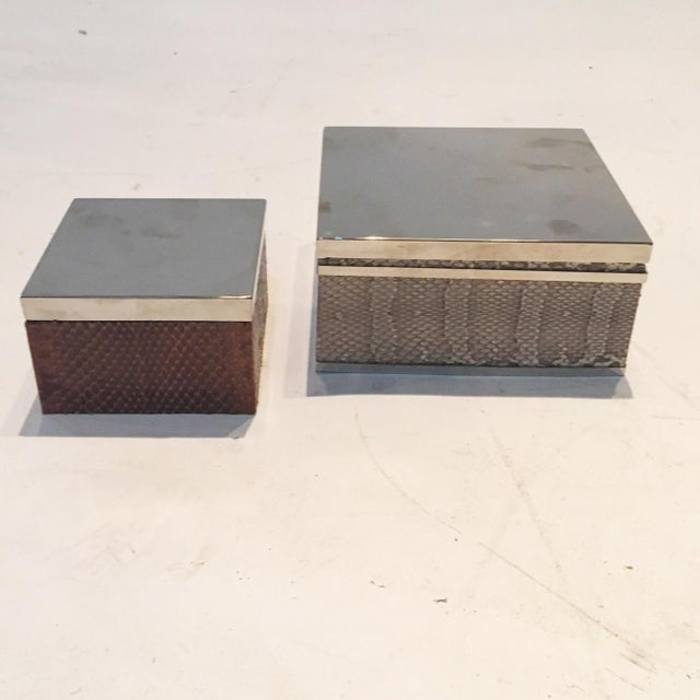 Brown & Tan Snakeskin & Chrome Boxes - A Pair - Image 4 of 6