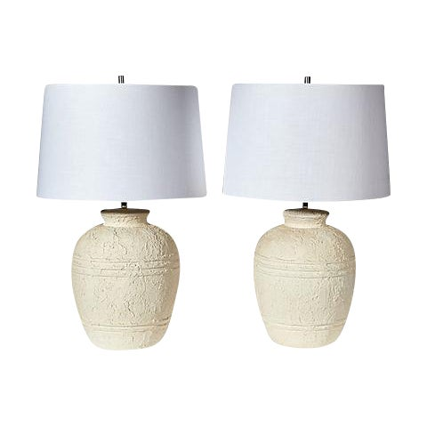 1970s White Textured Barrel Lamps - A Pair - Image 1 of 7