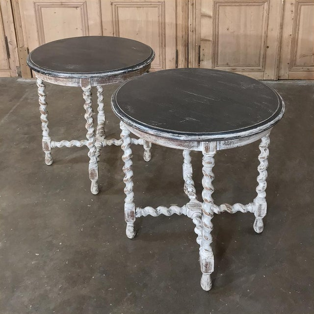 Pair Antique Barley Twist Painted End Tables For Sale - Image 11 of 13