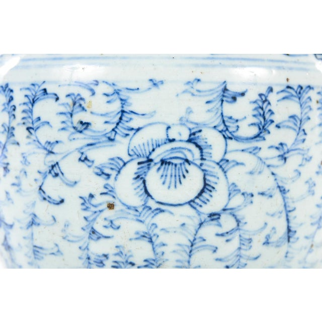 Ceramic Chinese 19th C. Blue & White Porcelain Ginger Jar With Stand For Sale - Image 7 of 9