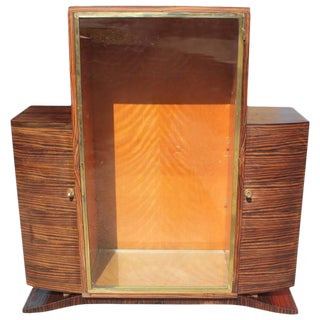 1940s French Art Deco Macassar Ebony Vitrine China Cabinet For Sale