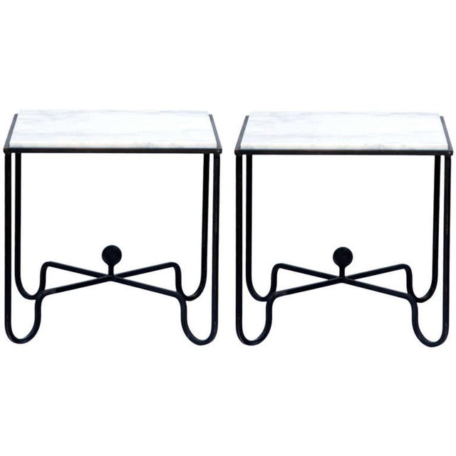 """Carrara Marble Contemporary """"Entretoise"""" Wrought Iron and Marble Tables - a Pair For Sale - Image 7 of 7"""
