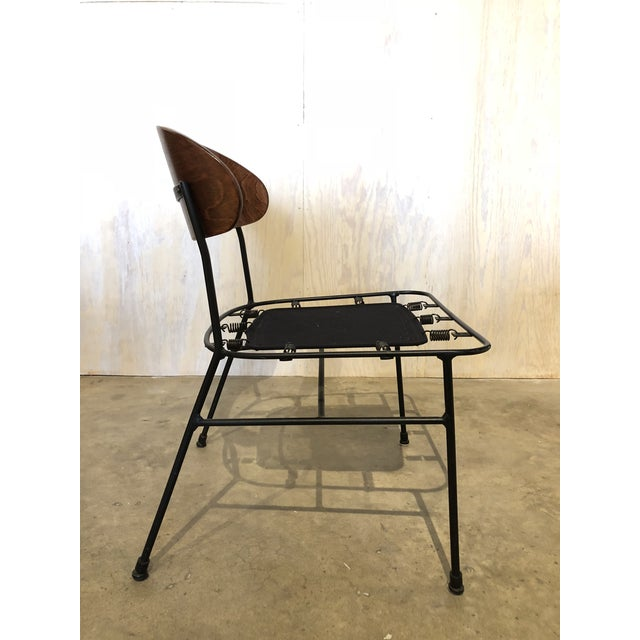 Metal Paul Laszlo for Pacific Iron Walnut and Iron Chairs For Sale - Image 7 of 9